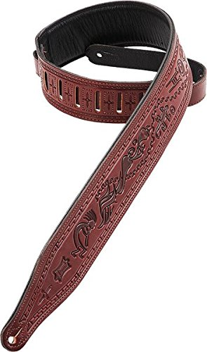 Levy's Leathers M17T03-BRG Carving Leather Tooled Guitar Strap, Burgundy