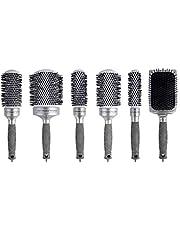 Ponik's Stylingborstels keramische set ronde borstels voor dames, haarborstels in set voor föhn, professionele haarborstels, ronde kam, föhnborstels, stylingborstels, set met 6 keramische haarborstels