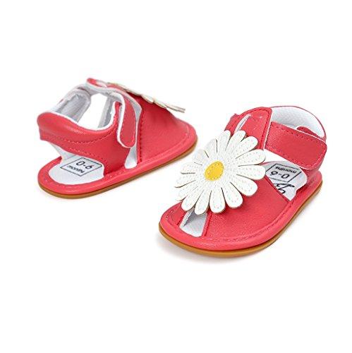 Baby Schuhe Auxma Baby Mädchen Blumen Sandalen Geschlossene Zehe Sommer Schuhe für 0-6 6-12 12-18 Monat (12-18 M, Gold) Rot