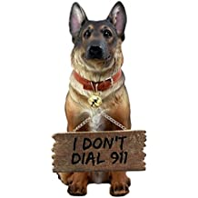 Ebros Old Faithful German Shepherd Dog Statue With Jingle Collar and Greeter Sign Patio Welcome Decor Sculpture