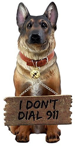 Ebros Old Faithful German Shepherd Dog Statue with Jingle Collar and Greeter Sign Patio Welcome Decor Sculpture ()