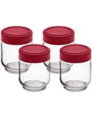 Cuisipro Leak-Proof Glass Jars (Set of 4), 6 oz, Red (747361)