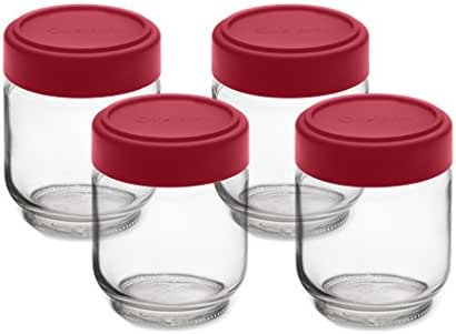 Cuisipro 6 Ounce Glass Jars (Set of 4), Glass/Red
