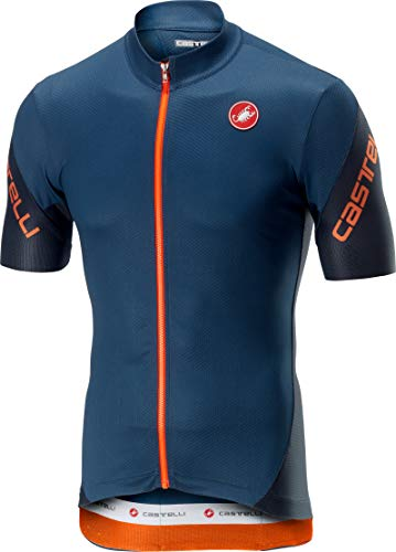 (Castelli Men's Entrata 3 Full Zip Bike Jersey (Light Steel Blue, Small))