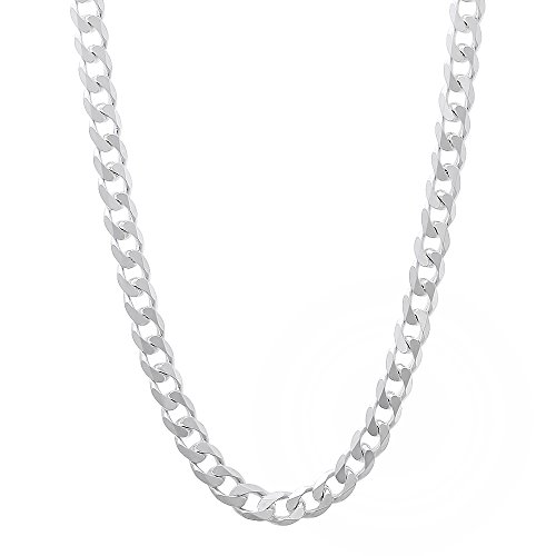 925 Sterling Silver Italian Crafted 3.5mm Beveled Cuban Link Chain Necklace, 20
