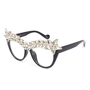 Hukai Rhinestone Sunglasses Decoration Luxury Women Cat Eye Shiny Brand Designer Party (E)