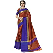Indian Beauty with Blouse Piece Art Silk Saree (Blue N_Brown_Free Size)