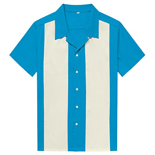 Anchor MSJ Men's 50s Male Clothing Rockabilly Style Casual Cotton Blouse Mens Fifties Bowling Dress Shirts (XXL, Light - Rockabilly Bowling Shirt