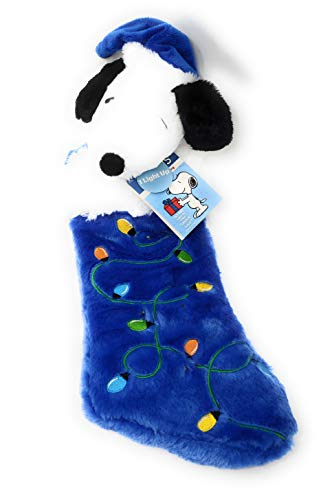 Dan Dee Peanuts Snoopy in Santa Hat Plush Musical Light Up Blue Stocking Plays Linus and Lucy