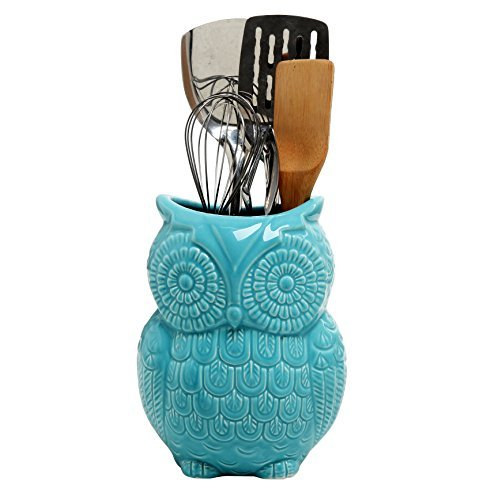 MyGift Large Owl Design Ceramic Cooking Utensil Holder, Kitchen Storage Crock, Aqua Blue (Utensil Owl Crock)
