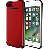 iPhone 7 Battery Case, REDGO 5500mAh Rechargeable Charging Backup Battery Case, Protable Ultra Slim Extended Charger Case Power Bank for iPhone 6 / iPhone 6s / iPhone 7, Red