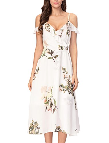 Noctflos Women's Floral Chiffon Wrap Cold Shoulder Cocktail Party Midi Dress (Chiffon Floral Wrap)