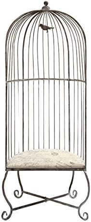 IMAX Dorchester Birdcage Accent Chair – Single, Gray Metal Chair with White Cushioned Seating. Home Decor Furniture