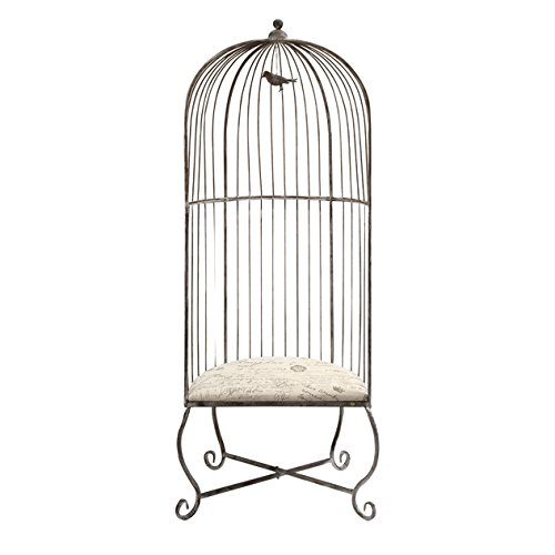 IMAX Dorchester Birdcage Accent Chair - Single, Gray Metal Chair with White Cushioned Seating. Home Decor Furniture (Seating Unique)