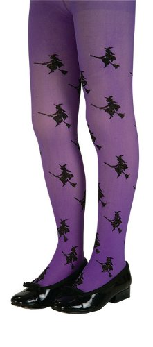 Girls Purple Glitter Witch Tights (Purple Glitter Witch Child Tights, Large, Purple)