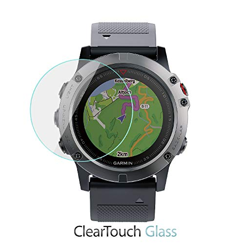 Garmin Fenix 5X Screen Protector, BoxWave [ClearTouch Glass] 9H Tempered Glass Screen Protection for Garmin Fenix 5X