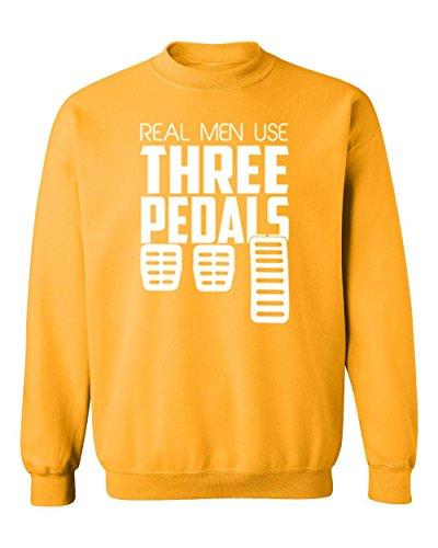 Real Men Use Three Pedals Car Racing Crewneck Sweatshirt, M, (Racing Mens Crewneck Sweatshirt)