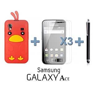 OnlineBestDigital - Chick Style Soft Silicone Case for Samsung Galaxy Ace - Red with 3 Screen Protectors and Stylus