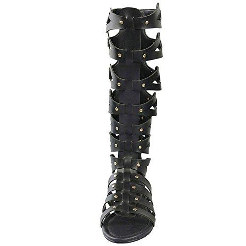 Fereshte Mujeres Cut Out Knee High Botas De Verano Planas Sandalias Gladiador Negro