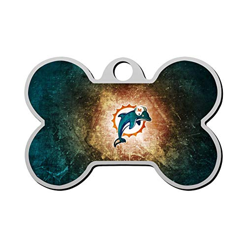 Mhmkrot Miami Dolphins Dog Tag Pet ID Tags Cat Tags Bone Shaped Zinc Alloy Identity Pendant Trendy Funny Double Sided Printed - DIY Custom