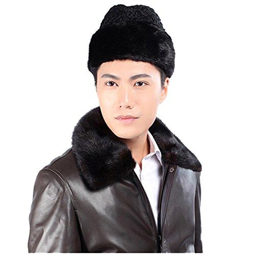 URSFUR Mink Fur & Lamb Fur Russian Cossack Hat (One Size, Black) by URSFUR