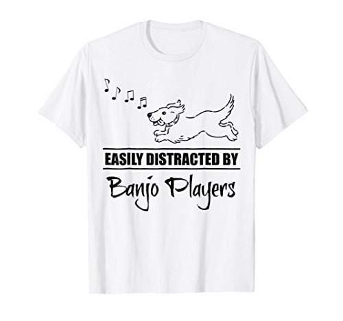 Cute Dog Easily Distracted by Banjo Players Music Notes T-Shirt
