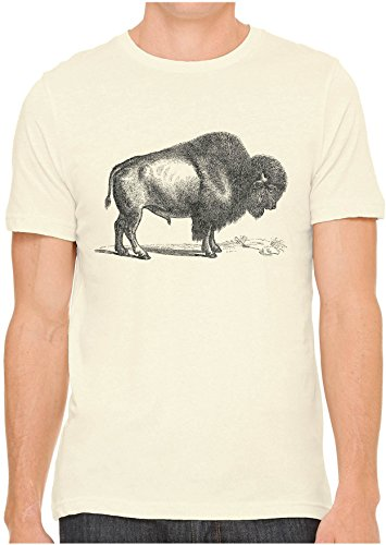 (Unisex Mens American Buffalo Wild Bison Print Cotton Fitted Graphic T-Shirt (Soft Cream,)