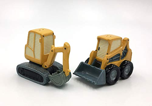 (Fine Porcelain Construction Equipments Excavator and Bulldozer Salt and Pepper Shakers, 3-3/4