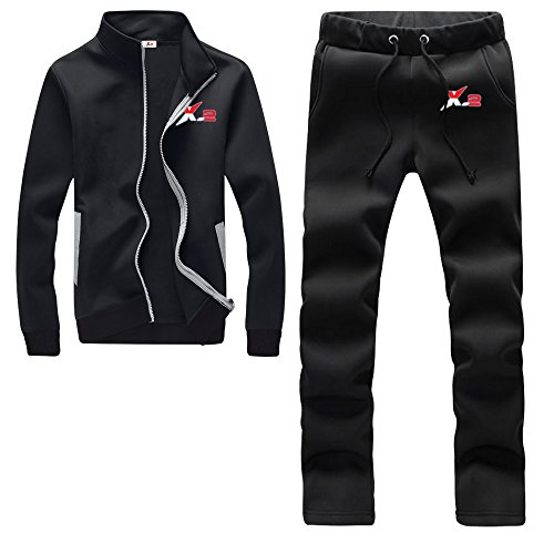 X-2 Athletic Full Zip Fleece Tracksuit Jogging Sweatsuit Activewear