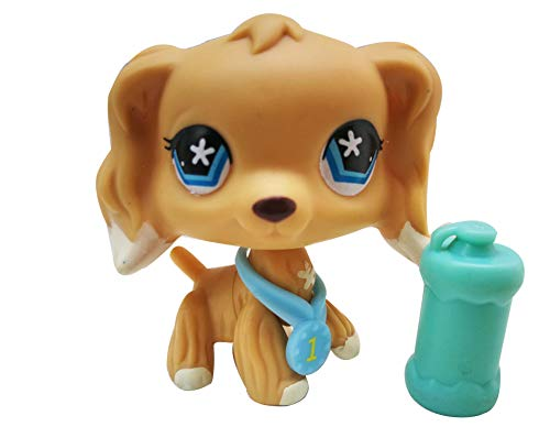 LPSOLD LPS Cocker Spaniel 748 Tan Blue Star Eyes Dog Puppy with Accessories Action Cartoon Figure Collection Boy Girl Kid Gift (LPS 748) -