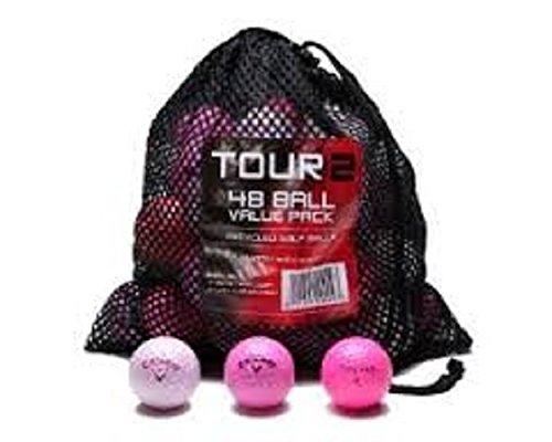 Color Various Brands Mixed Recycled Golf Balls (48 Pack with Reusable Drawstring Mesh Bag), Pink