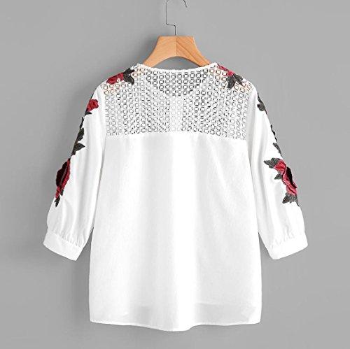 Goodsatar mujeres otoño manga larga Camiseta Camisa bordada Remata la blusa ocasional Blanco