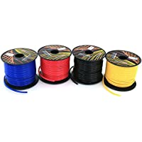 GS Powers 16 Gauge Ga, 4 Rolls of 100 Feet (total of 400') Car Audio Video Power Primary Remote Turn on Hook up Wire (Cable Color Set: Black Red Blue Yellow )