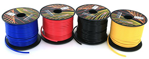 GS Power's 16 Gauge Ga, 4 Rolls of 100 Feet (total of 400 ft) Car Audio Video Primary Remote Turn on Hook up Trailer Wire (Cable Color Set: Black Red Blue Yellow )