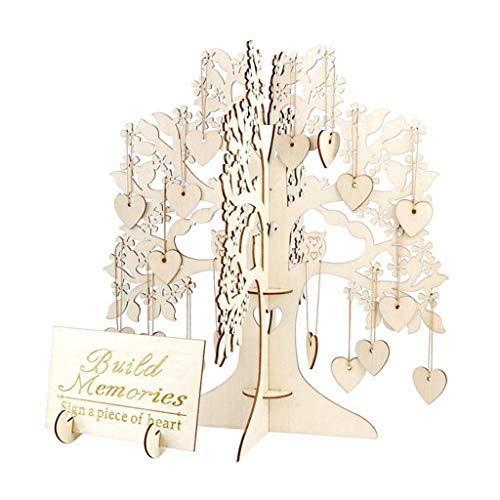 Fullwei Wedding Guest Book Tree, Drop Top Wooden Wooden Hearts Pendant Ornaments Party DIY Decoration Supplies - Boho (Khaki) ()