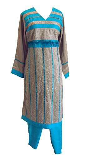HilalPlaza Cotton Embroidered Islamic Salwar Kameez Ramadan Suit - Medium (Bust 38