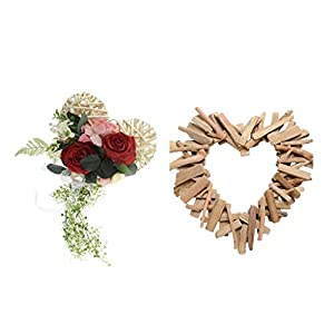Fityle Heart Rattan Silk Rose Flower Wreath+ Heart-Shaped Creative Wooden Ornament 28