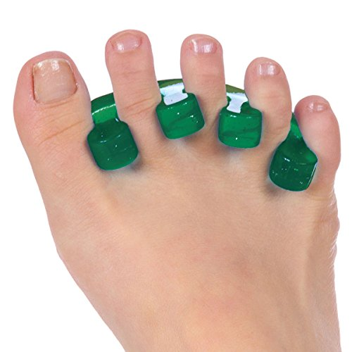 Happy Toes Gel Toe Separators and Straightener for Foot Pain & Bunion Relief, Hammer Toes and More - 1 Pair, Emerald