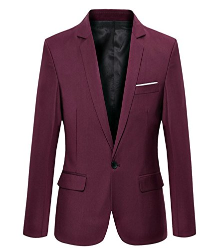 Mens Slim Fit Casual One Button Blazer Jacket (302 Burgundy, L) -