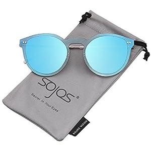 SojoS Rimless Round Metal Frame Sunglasses Flat Mirrored Lens UV400 SJ1074
