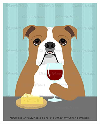 400D - English Bulldog Drinking Wine and Eating Cheese UNFRAMED Wall Art Print by Lee ArtHaus