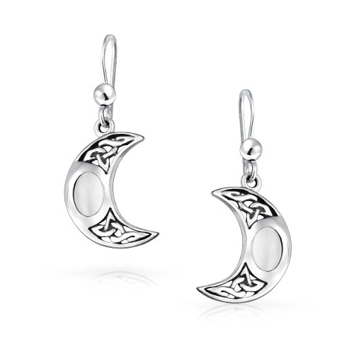 White Rainbow Crescent Moon Moonstone Celtic Irish Knot Work Oval Bezel Set Fish Hook Dangle Earrings 925 Silver