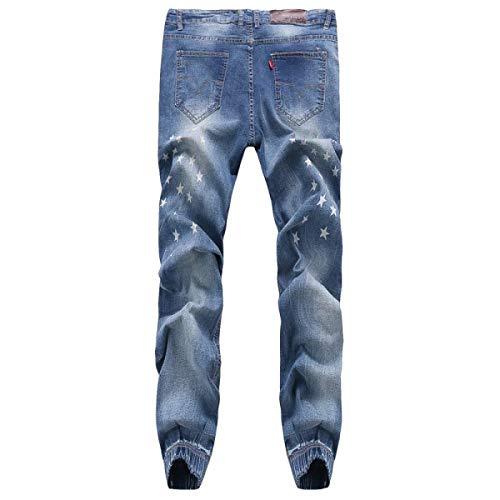 Alta Taglie Uomo Retrò Moda Blu Vita Da Abiti Pantaloni Bassa A Comode Casual Strappati Jeans 0SAx4z