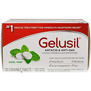 Gelusil Antacid/Anti-Gas Tablets Cool Mint, 100 Tablets (Pack of - 100 Antacid Packs