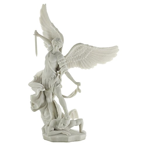 Top Collection Archangel St. Michael Statue – Greek Roman Catholic Angel Saint Miguel Sculpture in Premium White Marble Finish- 14.5-Inch Collectible Peace and Justice Figurine Defeating Lucifer