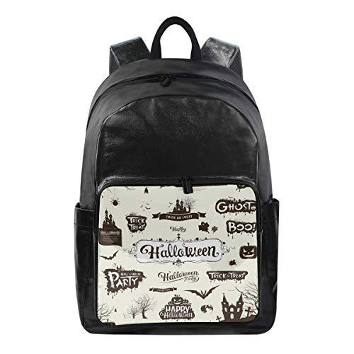 SUABO Student Backpack, Canvas School Backpack Durable Travel Laptop Backpack Halloween Book Bag Rucksack]()