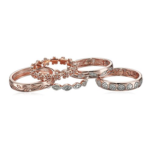 14k Rose Gold Over Sterling Silver Five Diamond Rings Set (1/10 cttw, I-J Color, I2-I3 Clarity), Size 8 by Amazon Collection