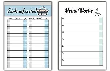 Einkaufszettel + Wochenplaner im Set zur Organisation der Woche ...