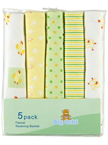 Big Oshi Quack 5-Pack Receiving Blankets - yellow, one ()