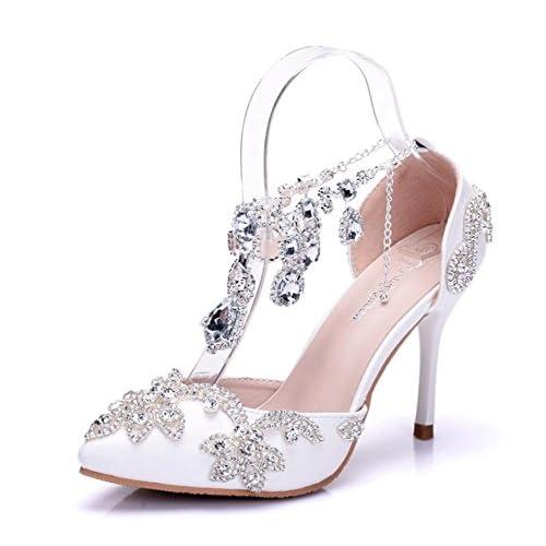 39e99fa0 GAIHU Boda sandalias nupcial del tobillo femenino vestido de blanco, de tacón  alto Rhinestones Noche